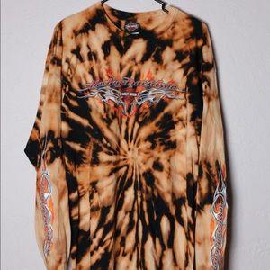 Vintage Harley Davidson Tie Dye Long Sleeve Shirt